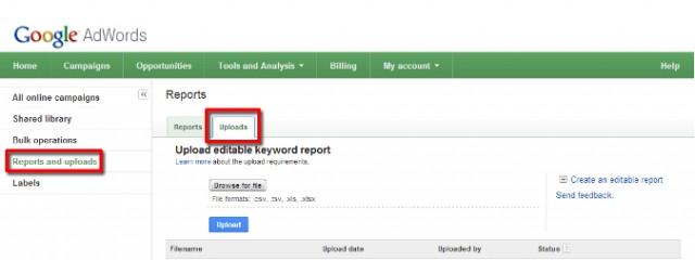 В AdWords добавили возможность редактировать ключевые слова в массовом порядке в отчетах
