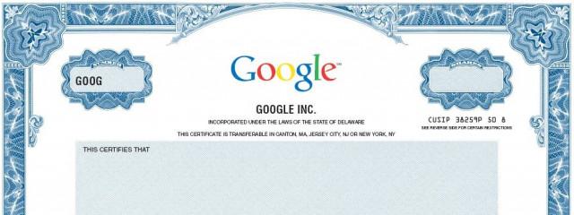 Акции Google достигли самой высокой цены