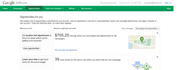 AdWords: новые рекомендации во вкладке «Оптимизация»
