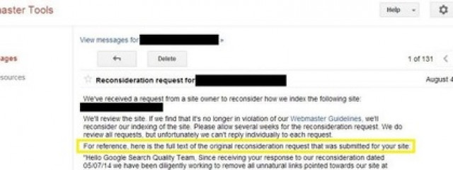 Google Webmaster Tools начал отображать полный текст заявок на повторную проверку сайта