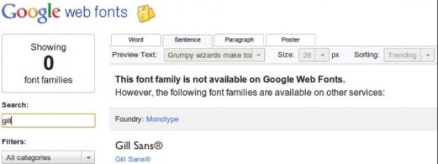 Сервис Google Web Fonts покажет шрифты сторонних разработчиков