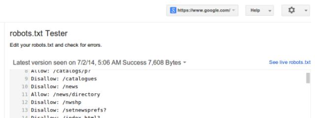 В Google Webmaster Tools обновлён инструмент проверки файлов robots.txt